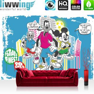 liwwing Vlies Fototapete 416x254cm PREMIUM PLUS Wand Foto Tapete Wand Bild Vliestapete - Disney Tapete Mickey Mouse Kindertapete Cartoons Donald Duck Goofy blau - no. 1440