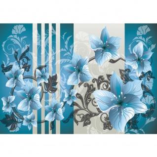Fototapete Ornamente Tapete Ornamente Blumen blau verspielt blau   no. 304