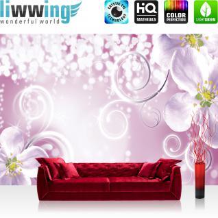 liwwing Vlies Fototapete 200x140 cm PREMIUM PLUS Wand Foto Tapete Wand Bild Vliestapete - Ornamente Tapete Ornament Kirschblüte Pflanze Sterne rosa - no. 653