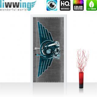 liwwing Türtapete selbstklebend 91x211 cm PREMIUM PLUS Tür Fototapete Türposter Türpanel Foto Tapete Bild - Totenkopf Helm Brille Flügel - no. 328
