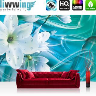 liwwing Vlies Fototapete 312x219cm PREMIUM PLUS Wand Foto Tapete Wand Bild Vliestapete - Orchideen Tapete Blüten Glitzer Tautropfen türkis - no. 3365