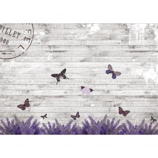 liwwing Vlies Fototapete 104x50.5cm PREMIUM PLUS Wand Foto Tapete Wand Bild Vliestapete - Holz Tapete Holzwand Holzoptik Holz Lavendel Schmetterling Natur grau - no. 1994 - Vorschau 2