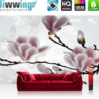 liwwing Vlies Fototapete 152.5x104cm PREMIUM PLUS Wand Foto Tapete Wand Bild Vliestapete - Illustrationen Tapete Blumen Illustration Natur rosa - no. 3129