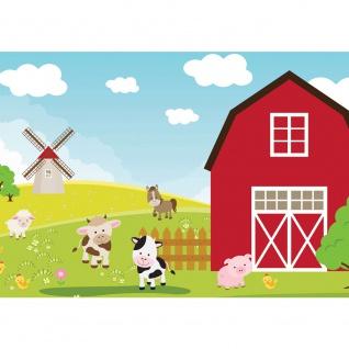 Fototapete Illustrationen Tapete Kindertapete Kinder Bauernhof Tiere bunt | no. 2668