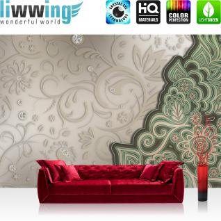 liwwing Vlies Fototapete 350x245 cm PREMIUM PLUS Wand Foto Tapete Wand Bild Vliestapete - Ornamente Tapete Ornamente Oriental Blüten Blumen Diamant Schörkel beige - no. 895