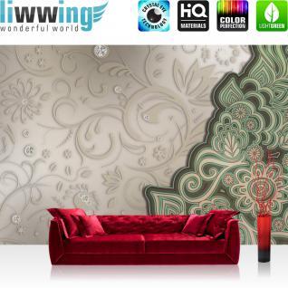liwwing Vlies Fototapete 400x280 cm PREMIUM PLUS Wand Foto Tapete Wand Bild Vliestapete - Orchideen Tapete Blumen Blüten Orchideen Kugeln Perle Holz weiß - no. 895