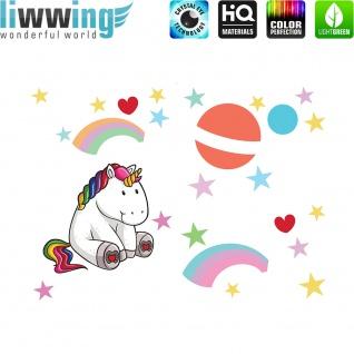 Wandsticker - No. 4777 Wandtattoo Sticker Einhorn Unicorn Pony Herzen Regenbogen Mond Sterne