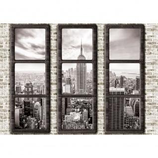 Fototapete New York Tapete Manhattan Städte Länder Skyline Steine Wand Fenster beige | no. 1384
