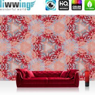 liwwing Vlies Fototapete 312x219cm PREMIUM PLUS Wand Foto Tapete Wand Bild Vliestapete - Blumen Tapete Blume Blüten Kreise Kranz rot - no. 1546