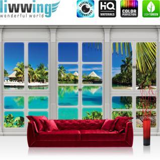 liwwing Vlies Fototapete 416x254cm PREMIUM PLUS Wand Foto Tapete Wand Bild Vliestapete - Meer Tapete Mittelmeer See Strand Karibik Südsee Fenster natural - no. 3418