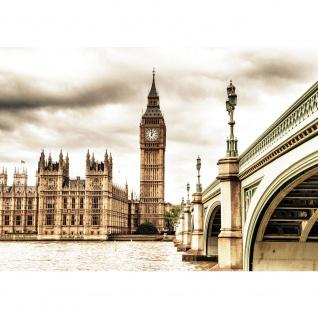Fototapete London Tapete Big Ben Tower Wasser Brücke England sepia   no. 2190