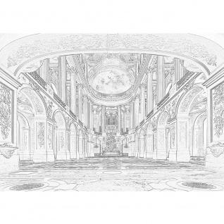 Fototapete Architektur Tapete Kirche, Kathedrale, Bögen, Altar schwarz - weiß | no. 3460