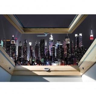 Fototapete Skylines Tapete Manhattan, Wolkenkratzer, Nacht, Fenster anthrazit | no. 3326
