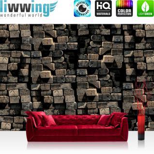 liwwing Vlies Fototapete 312x219cm PREMIUM PLUS Wand Foto Tapete Wand Bild Vliestapete - Holz Tapete Holzwand Holzstämme Natur Wand braun - no. 1514