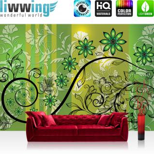 liwwing Vlies Fototapete 416x254cm PREMIUM PLUS Wand Foto Tapete Wand Bild Vliestapete - Ornamente Tapete Blumen Blüte Ranke Blätter Streifen grün - no. 2455