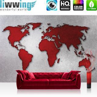 liwwing Fototapete 254x184cm PREMIUM Wand Foto Tapete Wand Bild Papiertapete - Welt Tapete Weltkarte schraffiert Graffiti rot - no. 3528