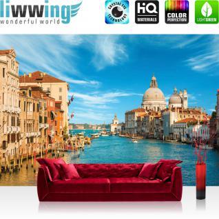 liwwing Vlies Fototapete 350x245 cm PREMIUM PLUS Wand Foto Tapete Wand Bild Vliestapete - Venedig Tapete Venedig Wasser Dom Himmel Häuser Italien blau - no. 444