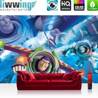 liwwing Vlies Fototapete 312x219cm PREMIUM PLUS Wand Foto Tapete Wand Bild Vliestapete - Cartoon Tapete Disney Toy Story Captain Buzz Lightyear blau - no. 1611
