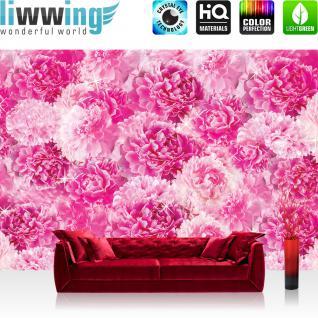 liwwing Vlies Fototapete 208x146cm PREMIUM PLUS Wand Foto Tapete Wand Bild Vliestapete - Blumen Tapete Pfingstrosen Rosen Blume Blüte Blätter Frühling rosa - no. 2413
