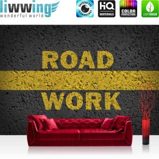 Fototapete Schriftkunst Tapete Schriftzug Road Straße Work anthrazit   no. 2060
