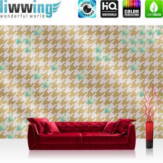 liwwing Vlies Fototapete 350x245 cm PREMIUM PLUS Wand Foto Tapete Wand Bild Vliestapete - Illustrationen Tapete Abstrakt Zeichen Muster blau beige gold - no. 359