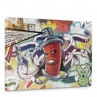 Leinwandbild Kinder Graffiti Dose Sprayer bunt | no. 338