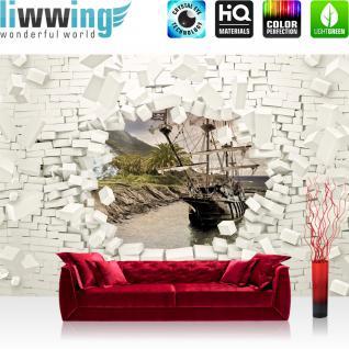 liwwing Fototapete 368x254 cm PREMIUM Wand Foto Tapete Wand Bild Papiertapete - Steinwand Tapete Steinoptik Stein 3D Optik Schiff Palme Meer weiß - no. 2014