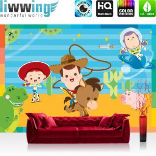 liwwing Fototapete 254x168 cm PREMIUM Wand Foto Tapete Wand Bild Papiertapete - Kindertapete Tapete Disney Toy Story Kinderzimmer Tiere Planet Sterne bunt - no. 3051