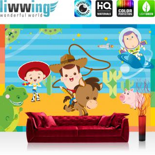 liwwing Vlies Fototapete 416x254cm PREMIUM PLUS Wand Foto Tapete Wand Bild Vliestapete - Kindertapete Tapete Disney Toy Story Kinderzimmer Tiere Planet Sterne bunt - no. 3051