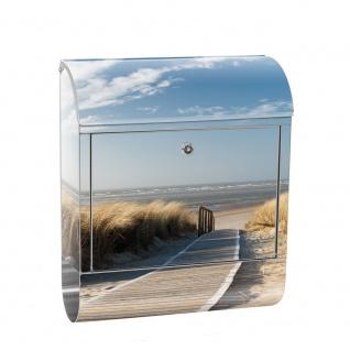 Edelstahl Wandbriefkasten XXL mit Motiv & Zeitungsrolle | Strand Meer Nordsee Wasser Himmel Sonne Sommer | no. 0038
