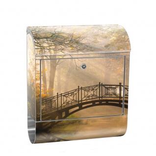 Edelstahl Wandbriefkasten XXL mit Motiv & Zeitungsrolle | Wald Wasser Bäume Herbst Natur Sonne | no. 0264