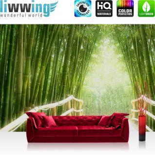 liwwing Vlies Fototapete 350x245 cm PREMIUM PLUS Wand Foto Tapete Wand Bild Vliestapete - BAMBOO WALK - Bambusweg Bambuswald Dschungel Asia Asien Bamboo Way Wald - no. 002