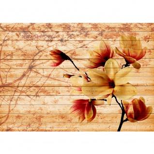 Fototapete Holz Tapete Holzoptik Blumen Blüten Blätter Kunst ocker | no. 2689