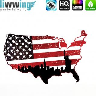 Wandsticker - No. 4622 Wandtattoo Sticker Wohnzimmer Flagge USA Amerika Landkarte New York Stars and Stripes