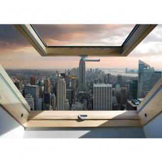 Fototapete Skylines Tapete Manhattan, Hudson River, Wolkenkratzer, Abend, Fenster bunt | no. 3325