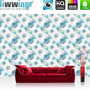 liwwing Vlies Fototapete 312x219cm PREMIUM PLUS Wand Foto Tapete Wand Bild Vliestapete - Texturen Tapete Kugeln Kreise Perlen Blätter blau - no. 3468