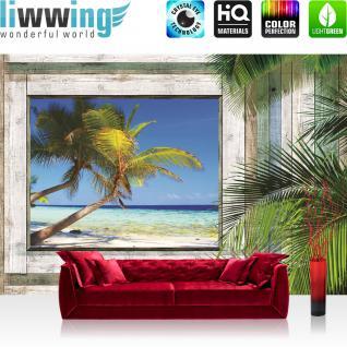 liwwing Vlies Fototapete 416x254cm PREMIUM PLUS Wand Foto Tapete Wand Bild Vliestapete - Meer Tapete Holzwand Holz Fenster Palme Strand Meer blau - no. 1318