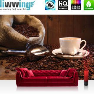 liwwing Vlies Fototapete 300x210 cm PREMIUM PLUS Wand Foto Tapete Wand Bild Vliestapete - Kaffee Tapete Kaffeetasse Kaffeebohnen Sach Tasse Löffel Bohne Schaufel Holzwand braun - no. 866