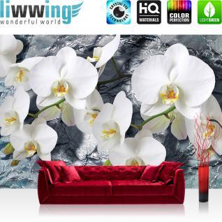 liwwing Vlies Fototapete 312x219cm PREMIUM PLUS Wand Foto Tapete Wand Bild Vliestapete - Orchideen Tapete Orchidee Blume Blüte Pflanze Wasser weiß - no. 1981