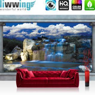 liwwing Vlies Fototapete 416x254cm PREMIUM PLUS Wand Foto Tapete Wand Bild Vliestapete - Wasser Tapete Wasserfall Felsen Himmel Säulen blau - no. 1649