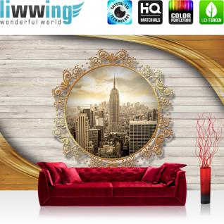 liwwing Vlies Fototapete 208x146cm PREMIUM PLUS Wand Foto Tapete Wand Bild Vliestapete - New York Tapete Empire State Building Skyline Ornament Holz gold - no. 3210