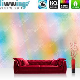 liwwing Fototapete 368x254 cm PREMIUM Wand Foto Tapete Wand Bild Papiertapete - Illustrationen Tapete Abstrakt Streifen bunt Dreiecke Formen Muster Verlauf rosa - no. 385
