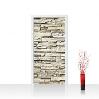 Türtapete - Noble Stone Wall - beige Steinwand Steinoptik Verblendsteine Wandverblender | no. 134