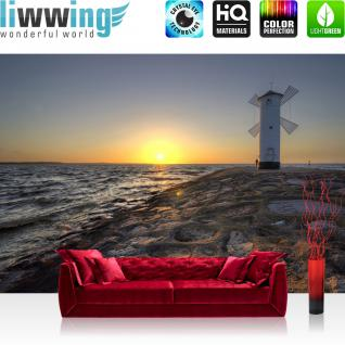 liwwing Fototapete 254x184cm PREMIUM Wand Foto Tapete Wand Bild Papiertapete - Meer Tapete Leuchtturm Windmühle Küste Felsen Brandung bunt - no. 3223