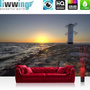 liwwing Fototapete 368x254cm PREMIUM Wand Foto Tapete Wand Bild Papiertapete - Meer Tapete Leuchtturm Windmühle Küste Felsen Brandung bunt - no. 3223