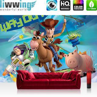 liwwing Vlies Fototapete 416x254cm PREMIUM PLUS Wand Foto Tapete Wand Bild Vliestapete - Disney Tapete Toy Story Buzz Lightyear Cartoon Illustration bunt - no. 1821