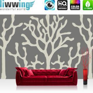 liwwing Fototapete 368x254 cm PREMIUM Wand Foto Tapete Wand Bild Papiertapete - Kunst Tapete Abstrakt Kunst Bäume Korallen Muster Design grau - no. 2945