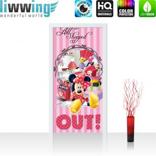 liwwing Türtapete selbstklebend 91x211 cm PREMIUM PLUS Tür Fototapete Türposter Türpanel Foto Tapete Bild - DISNEY Minnie Mouse Kindertapete CartoonShoppen Maus Kleider - no. 1069