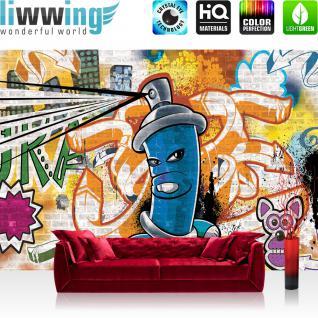 liwwing Vlies Fototapete 400x280 cm PREMIUM PLUS Wand Foto Tapete Wand Bild Vliestapete - Graffiti Tapete Kindertapete Dose Sprayer bunt - no. 340