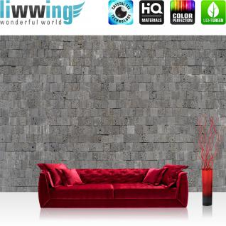 liwwing Fototapete 254x168 cm PREMIUM Wand Foto Tapete Wand Bild Papiertapete - Steinwand Tapete Steinmauer Steinwand Steinoptik grau - no. 695